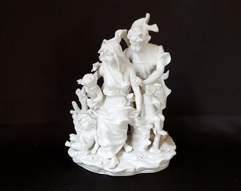 Vintage Parian Ware White Porcelain Figural Group with Man, Woman, and Children Triplets