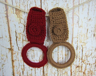 Kitchen Towel holder Ring, Pick your color, Kitchen Crochet Dish Towel holder with button tab, bathroom hand towel holder, Kitchen gift item