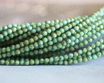 3mm (50) Turquoise Picasso, Czech Glass Beads, Fire Polished, Faceted, Seed Beads, 50 pieces, Stone Creek