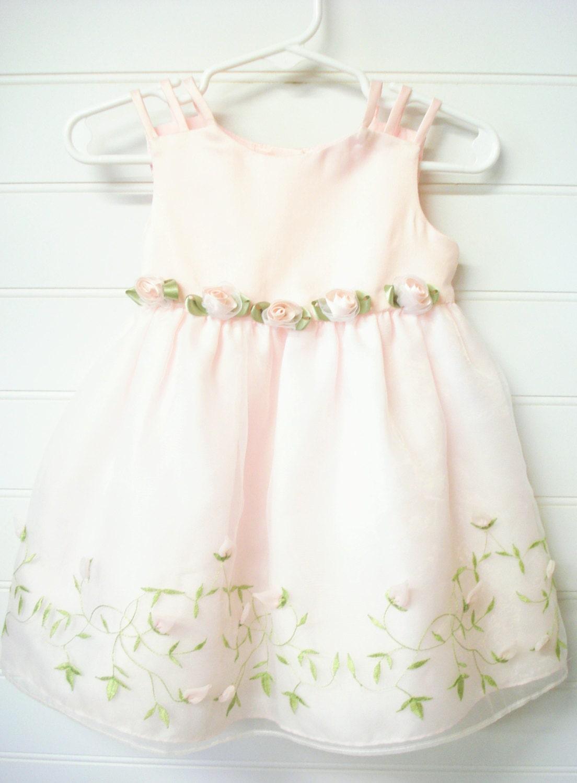 Vintage vestido bebé vestido de semana Santa vestido rosa con