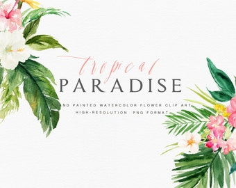 Watercolor floral Clip Art-Tropical Paradise/Summer/Individual PNG files/Hand Painted/Wedding design