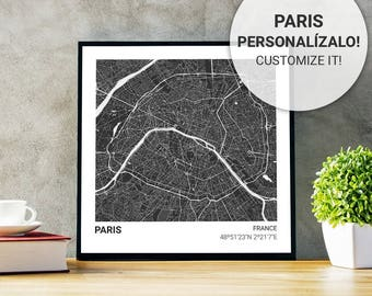 Poster map Paris (France) 23 x 23 black. Custom text. Ideal plate for decoration or as a gift.