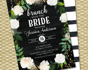 Brunch with the Bride Bridal Brunch Invitation Chalkboard Bridal Shower Invite Floral White Roses White & Black Gold Glitter ANY EVENT
