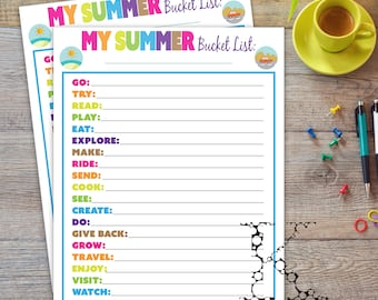 Summer Bucket List Print outs