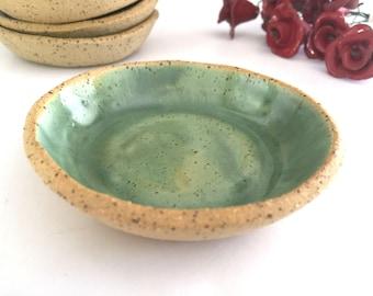 Ring Holder Dish, Mediterranean Sea Dreams Collection, Ring Holder, Green Rustic Ceramics