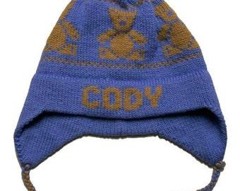 Personalized Earflap Hat - Teddy Bears