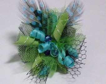 Dog Hair Bow Clip- Lime and Blue Feather Fascinator