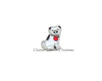 Floating Locket Charm • Pug • Dog • Memory Charm with Red Rhinestone ~ ANM47