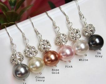 Rhinestone Pearl Drop Wedding Earrings, Pearl Drop Bridal Earrings, Pearl Drop Bridesmaid Earrings, Bridal Accessories, Mother of the Bride