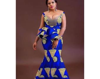 The Ugochi African print Ankara skirt and blouse with 4-way detachable peplum