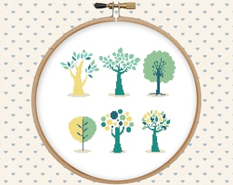 Tree cross stitch pattern pdf - instant download - digital download - pillow embroidered - modern cross stitch