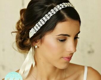 Wedding Hair Accessory, Beaded Headband, Bridal Headband, Crystal Ribbon Headband