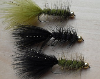 Fly Fishing Flies, Bead Head Woolly Bugger, 3 Fly Selection