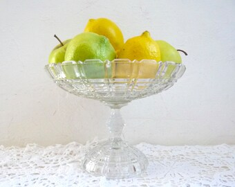 Vintage French Compotier, Footed Fruit Dish, Pressed Clear Glass Pedestal Plate or Cake Stand.