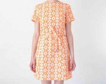 Orange 60s Textured Midi Dress // Vintage Crimplene Orange and White Patterned Dress