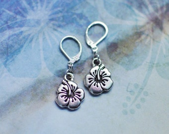 Hibiscus Tropical Flower Earrings, boho, bohemian, sold per pair (leave qty as 1)
