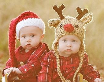Baby Hat Set  - Baby Hats - Santa Hat and Reindeer Hat - Twin Set - Baby Santa Hat - Baby Reindeer Hat