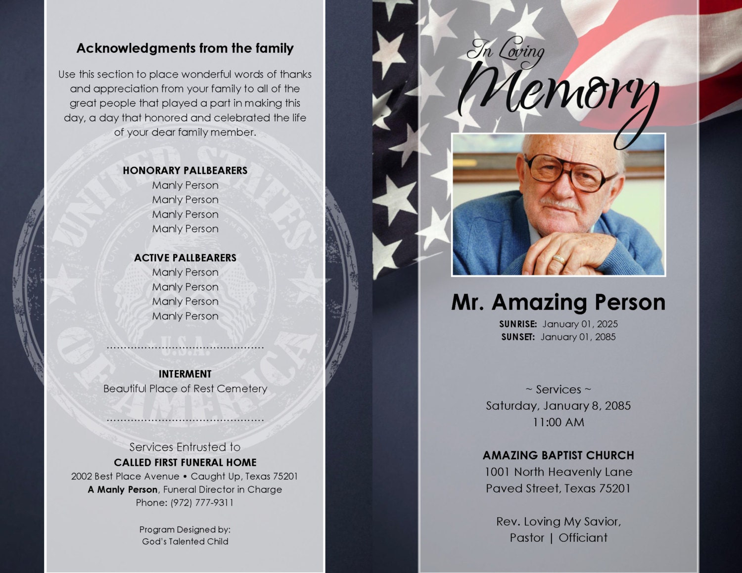 Pretty Funeral Pamphlet Templates Ideas - Entry Level Resume ...
