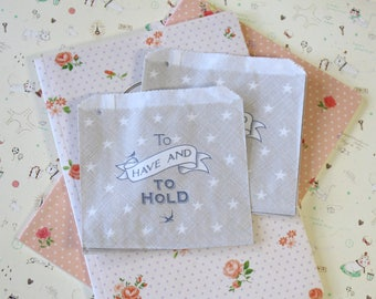 To Have and To Hold Grey Strung Mini Paper Bags