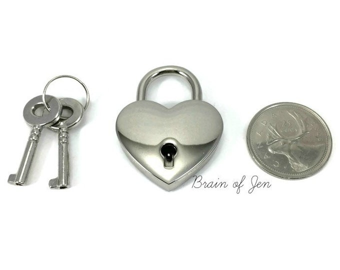 Heart Padlock Nickel Silver Working Heart Shaped Lock for Day Collars
