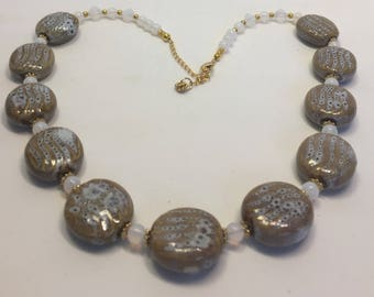 Necklace Set Porcelain Beads Honey and White Moonstone Gold Accents