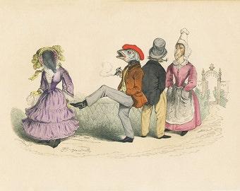 Animals in Clothes, Grandville, Satirical Art, humorous art, kicking fish, victorian