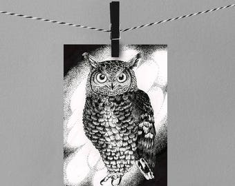 """Great horned owl 8x10"""" drawing ART PRINT"""