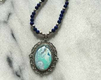 Hand painted pendant on bead and chain necklace