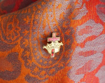 Vintage Cross & Crown Lapel Pin, Tie Tack, Red Enamel with Screw on Back, Religious Jewelry, Dime Sized Pin