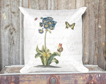 Vintage Primrose Botanical Pillow Cover