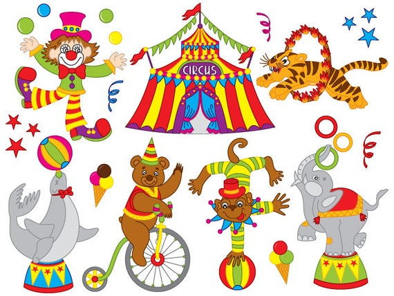 circus clipart digital vector circus lown animal big rh etsy com circus clipart for kids circus clipart black and white