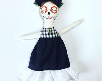 Day of the dead clothdoll, skull, Ragdoll, RosieDoll, Rag Doll, Dolly, Handmade Doll, mexican, skeleton doll
