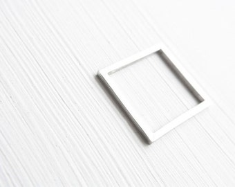 KAN {칸} - square silver ring - white