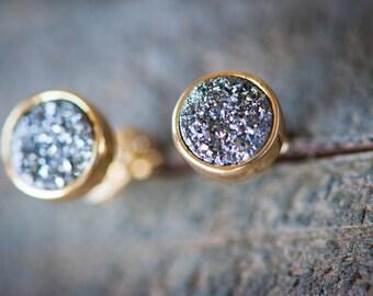 Druzy Stud Earrings,Tiny Druzy Studs,Gold Silver Druzy,Round Druzy Earrings,Drusy Stud Earrings,Druzy Jewelry,Drusy Jewelry,Raw Druzy Stud