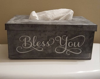 PRE-ORDER NOW! Tin Metal Tissue Box Holder with Lid - Bless You on the Front