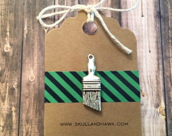 Paintbrush Lapel Pin / Tie Tack - Antique Silver Tone - Tack Backing with Clutch Clasp