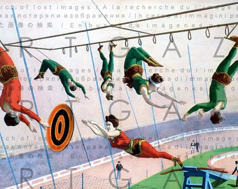 VICTORIAN CIRCUS POSTER. Vintage Circus Illustration Trapeze. Digital Circus Download. Circus Acrobatics Digital Print.
