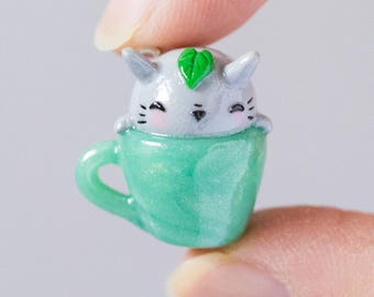 Polymer Clay My Neighbor Totoro Inspired Sleepy Totoro in a Tea Cup Kawaii Chibi Cute Charm