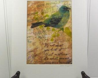 Blue Bird Print, It's What You See Inspirational PRINT Mixed Media Encaustic 5 x 7 Art
