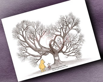 Instant Digital Download Winnie the Pooh Baby Shower Fingerprint Tree with Customizable Quote and Name on Tree  Quote Guestbook