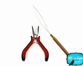 On Sale - Feather Hair extension PLIERS and LOOP Pulling Needle tool kit : 1398