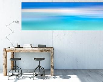 Large coastal artwork, beach canvas large, teal, large beach panorama, extra large wall art, seascape canvas, landscape panoramic, panorama