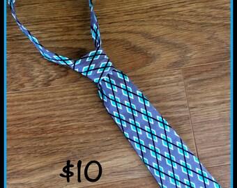1/2 OFF SALE!!  Handmade Boy Necktie / Black, Grey and Teal Argyle / Little Boy Tie