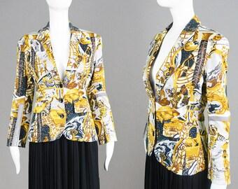 Vintage 90s KENZO Jungle Tailored Blazer Jacket Baroque Jacket All Over Print Womens Blazer Peaked Lapels Fitted Jacket French Designer
