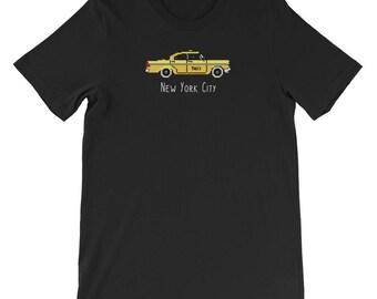 New York City Yellow Taxi Cab Pixel 8-Bit Short-Sleeve Unisex T-Shirt