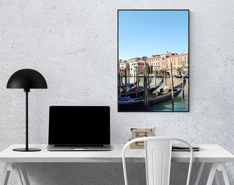 Lining up Gondolas - Venice, Italy   Cityscape, Travel's Lovers, Photography Digital Download, Wall Art Print