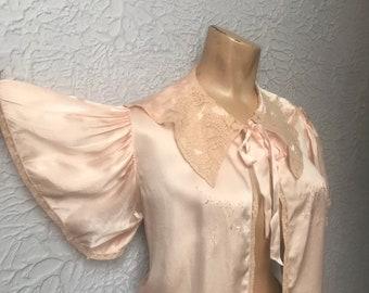 30's/40's Vintage Pink Silk Satin Jacket Top Med/Large