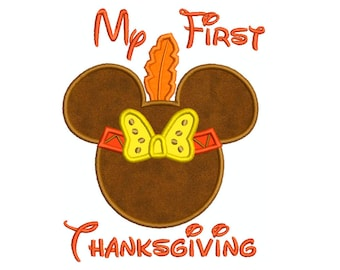 First Thanksgiving Indian Saying  Machine Applique Embroidery - Instant Digital Download
