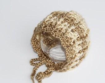 Crochet Bonnet, Newborn Bonnet, Crochet Baby Bonnet, Cream Mocha Bonnet, Vintage Style Bonnet, Newborn Photo Prop, Baby Hat