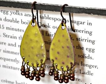 Moss Green Teardrop  Enamel  Earrings